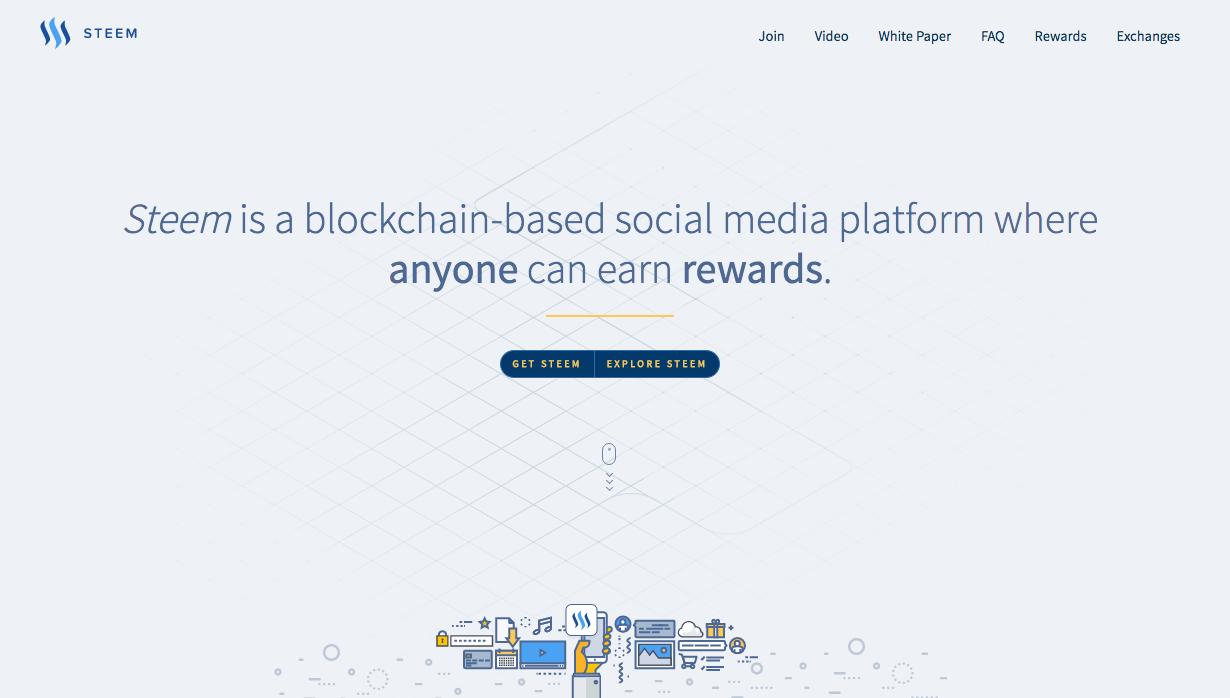 ブロックチェーンを使ったソーシャルメディアプラットフォームSteem